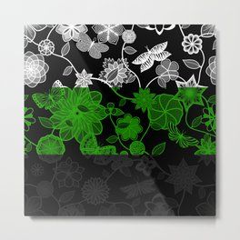 Butterfly Garden, Pride Flag Series - Neutrois Metal Print