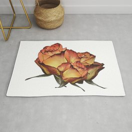 Roses orange, canvas, roses, flowers, rose fan, mothers day Rug