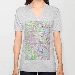 Vintage Map of Western Orlando Florida (1956) Unisex V-Neck