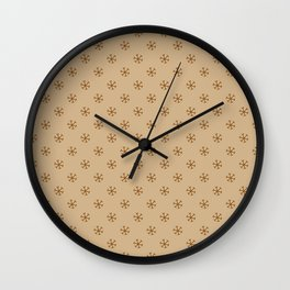 Chocolate Brown on Tan Brown Snowflakes Wall Clock