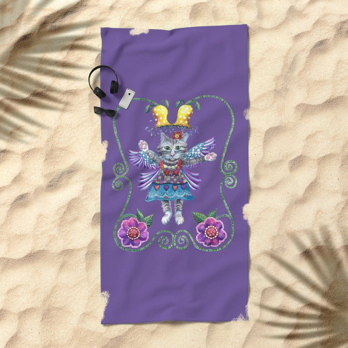 Angel Kitty (Purple) Beach Towel
