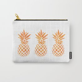 Orange Swirl Pineapples on White Carry-All Pouch