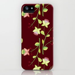 Red floral pattern iPhone Case