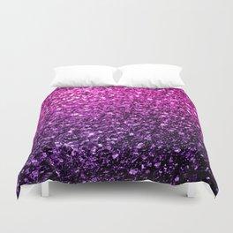 Purple Pink Ombre glitter sparkles Duvet Cover