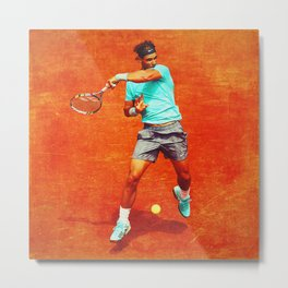 Rafael Nadal Tennis On Clay Metal Print