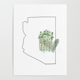 arizona // watercolor saguaro flower state flower map Poster