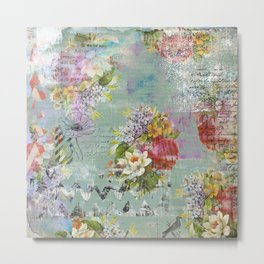 Grunged Florals on Green Metal Print