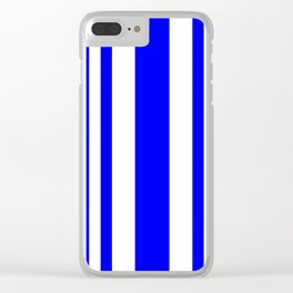 Mixed Vertical Stripes - White and Blue Clear iPhone Case