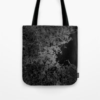 boston map Tote Bags featuring Boston map by Line Line Lines