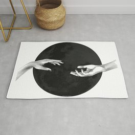 Lovers, hands on the black moon Rug