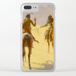 """Frederic Remington Western Art """"The Parley"""" Clear iPhone Case"""