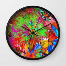 """ Kiwi Lifestyle"" - Pohutukawa NZ Bloom- Pop ART Wall Clock"
