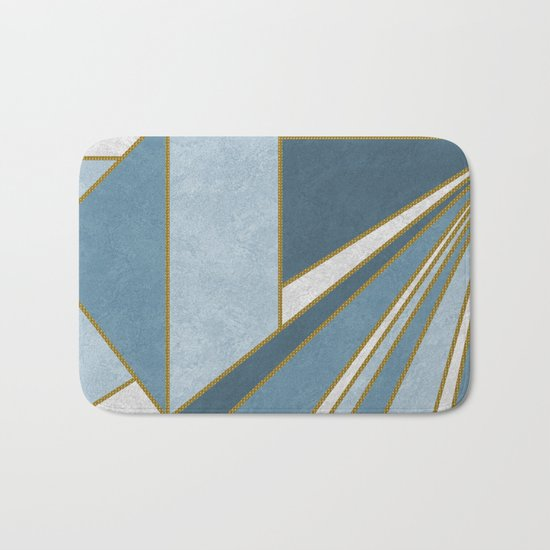 Travel to nowhere in blue (abstract geometric marble) Bath Mat