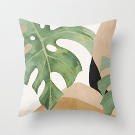 Abstract Art Tropical Leaves 3 Throw Pillow