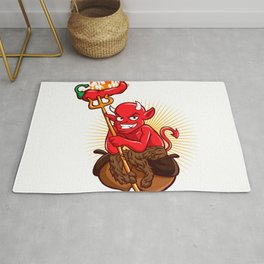 Devil with Hot Chili Pepper Cartoon Rug