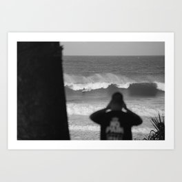 Massive wave with surfer Art Print