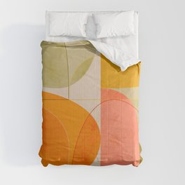 mid century geometric lines curry blush spring Comforters