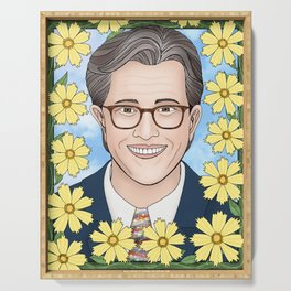 Stephen Colbert portrait with coreopsis Serving Tray