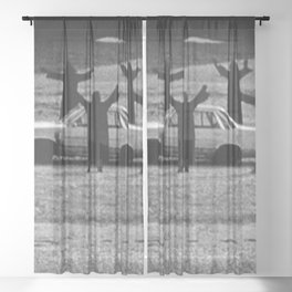 This Cult is Not a Cult! humorous black and white photograph Sheer Curtain