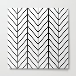 Herringbone White Metal Print