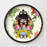 tina crespo Wall Clocks featuring Tina - Everything's ok face  by Sara Eshak