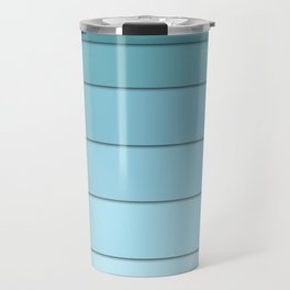 Colorful geometric striped pattern in shades of blue . Travel Mug