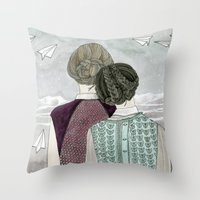 planes Throw Pillows featuring Paper Planes by Yuliya