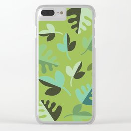 Shades of Green Leaves Clear iPhone Case