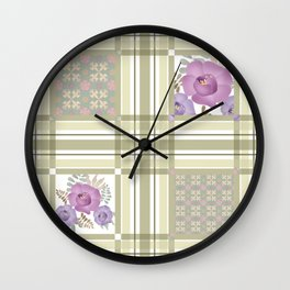 Olive green cage and roses. Wall Clock