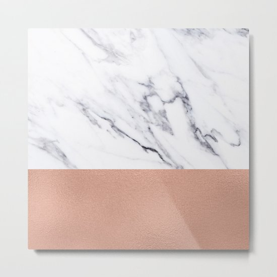 Marble Rose Gold Luxury iPhone Case and Throw Pillow Design Metal Print