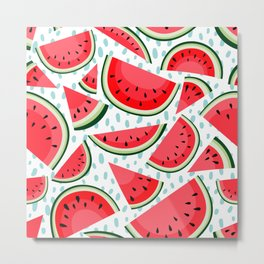 Tropical Red Watermelon Fruit Metal Print