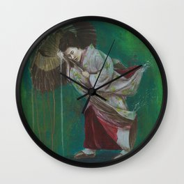 The Geisha on the Washing Line Wall Clock