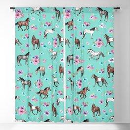 Hand drawn horses, Flower horses, Floral Pattern, Aqua Blue Blackout Curtain