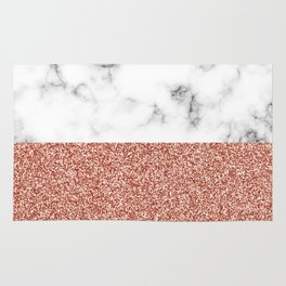 dip-dyed marble – rose gold (faux) glitter Rug