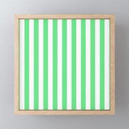 Algae Green and White Vertical Beach Hut Stripes Framed Mini Art Print