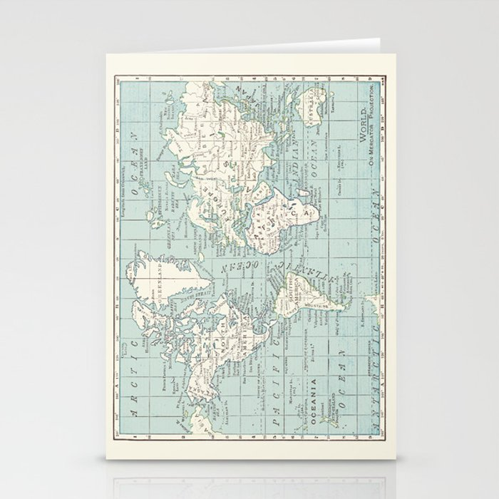 World Map in Blue and Cream Stationery Cards