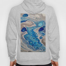 Blue and Silver Fluid Abstract - Silver Lining Hoody