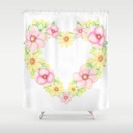 Spring Flowers Heart Wreath Shower Curtain