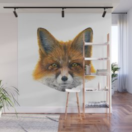 Fox face - Painting in acrylic Wall Mural