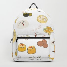Dim Sum Pattern on White Background Backpack