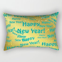 new blue Colorful design happy new year text in gold, festive, elegant gift for anyone in the family Rectangular Pillow