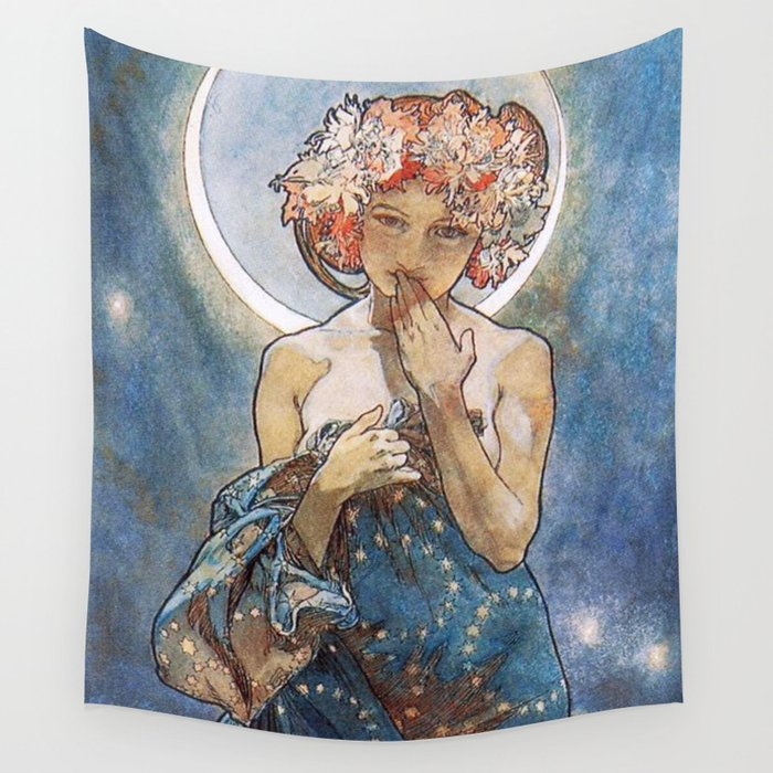 Alphonse Mucha Moonlight Art Nouveau Wall Tapestry