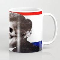 jfk Mugs featuring JFK SKULL PORTRAIT by Joedunnz