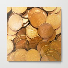 Watercolor Coins, Lincoln Wheat Pennies, 1947 02 Metal Print