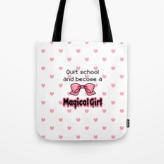kawaii quit school become a magical girl melty text Tote Bag
