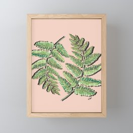 Green Jungle Fern leaves on peach_ Hand Painted watercolour  Framed Mini Art Print