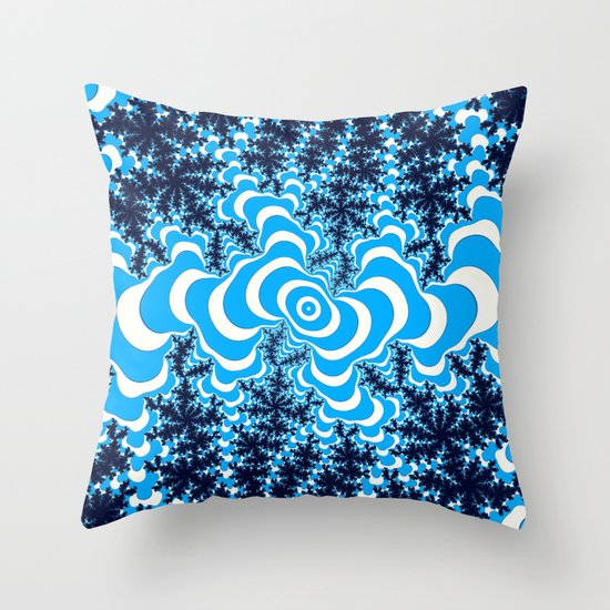 Blue and White fractal Throw Pillow