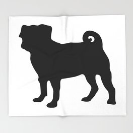 Simple Pug Silhouette Throw Blanket