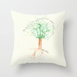 Organic Watercolor Tree with Einstein Quote Throw Pillow
