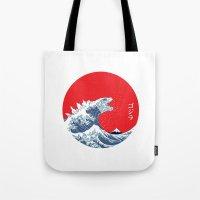 hokusai Tote Bags featuring Hokusai kaiju by Marco Mottura - Mdk7